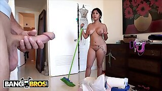 BANGBROS - Cuban Chick Angelina Cleans And Gets Her Latin Big Ass Fucked!