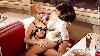 Affect3D - Futanari lesbian sex in a restaurant