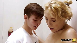 SHAME4K. Dear boy lets moms sexy girlfriend take a shower at his place