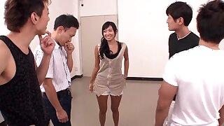 Skinny Asian stunner gangbang amazing sex video