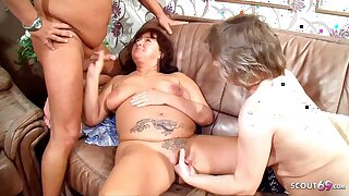 German Mature Wife catches him Fuck Granny Maid and Joins Threesome