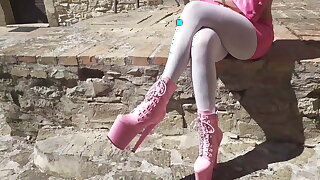 Outdoor pink outfit, wearing 8 inch platform ankle boots