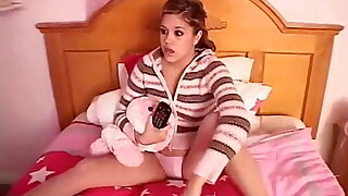 Teen Topanga touching her pussy in her bedroom.
