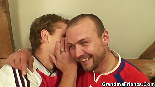 Two dudes have fun with big tits mature fatty