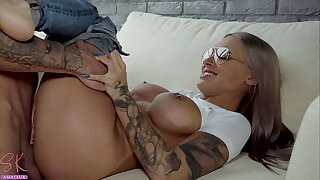 Perfect Girl in Glasses Deep Sucking and Passionate Fucking until Cum in Mouth